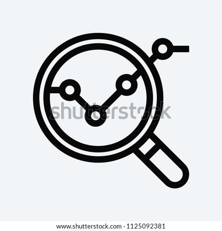 Analysis icon. Magnifier symbol.