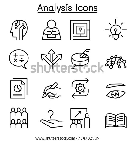 Analysis icon set in thin line style