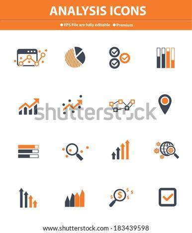Analysis icons on white background,Orange version