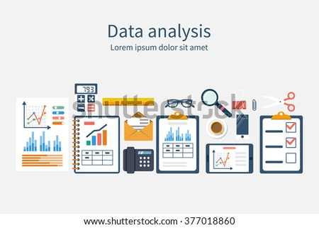 Analysis of concept in flat design. Process research financial growth, graph statistics, data analysis, business document,  market, strategic. Development. Set elements for business planning. Vector