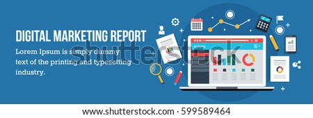 Analysis of digital marketing report, digital reporting, marketing strategy, process of analysis, web analytics flat vector with icons