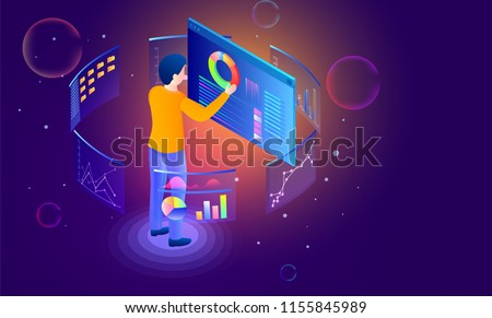 Analyst analysis data for management through pie chart on shiny abstract background for data management cocnept.