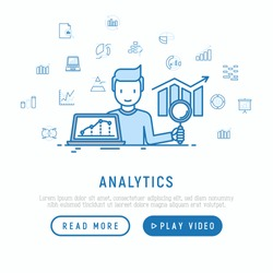 Analyst collecting and analyzing data concept with thin line icons: diagram, chart, statistics, pyramid. Modern vector illustration, web page template.
