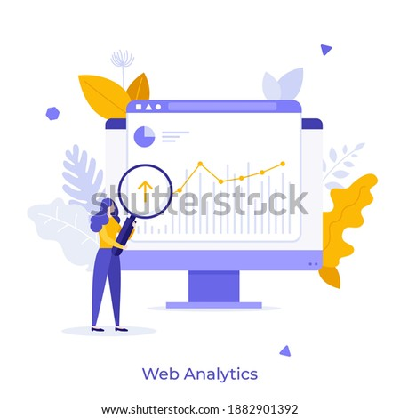 Analyst with loupe looking at diagram or trend on computer screen. Concept of web analytics, statistical analysis of internet data, online statistics. Modern flat vector illustration for poster.