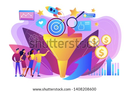 Analysts analyzing market. Selling strategy, lead generation. Marketing funnel, product marketing cycle, advertising system control concept. Bright vibrant violet vector isolated illustration