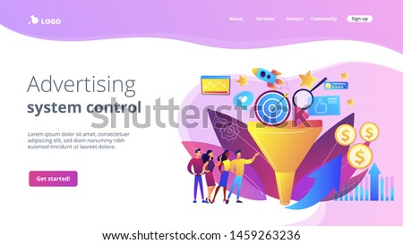 Analysts analyzing market. Selling strategy, lead generation. Marketing funnel, product marketing cycle, advertising system control concept. Website homepage landing web page template.