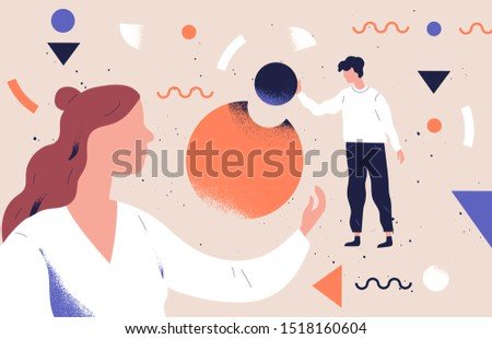 Analysts team coworking flat vector abstract illustration. Business analytics, data analysis concept. Employees teamwork and collaboration. Businessman character analyzing pie chart infographics.