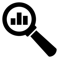 Analytic vector icon - magnifying glass with bar chart
