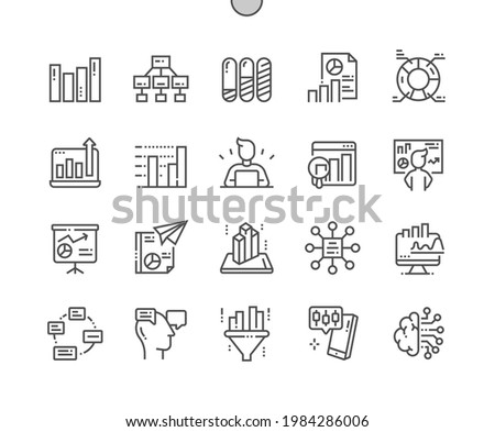 Analytics. Algorithm, process, filtering, report, statistics, development business. Pie chart and cycle analytic. Pixel Perfect Vector Thin Line Icons. Simple Minimal Pictogram