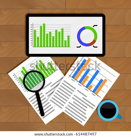 Analytics and statistics. Graph on tablet, financial research and analyzing annual statistic, vector illustration