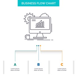Analytics, chart, seo, web, Setting Business Flow Chart Design with 3 Steps. Line Icon For Presentation Background Template Place for text