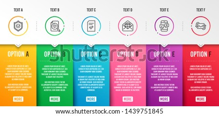 Analytics chart, Web mail and Approved shield icons simple set. Phone survey, Checked file and Refresh mail signs. Report analysis, World communication. Education set. Infographic template. Vector