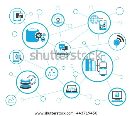 analytics data icons and network diagram on white background information technology concept - Network Diagram Icon