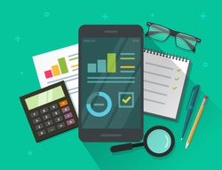 Analytics data results on mobile phone screen and table vector illustration, flat cartoon statistics information research on smartphone, cellphone display and growth graph or chart report dashboard