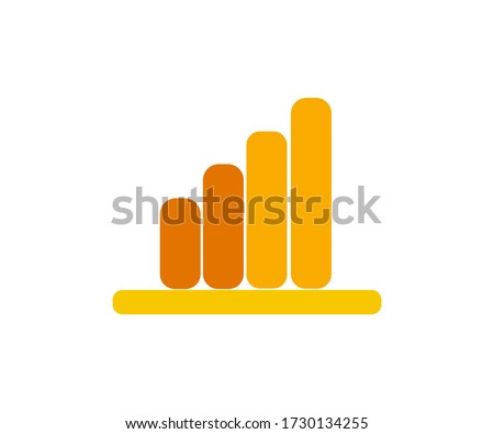 Analytics sign in yellow and orange colors.  Symbol of growth in digital marketing.
