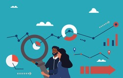 Analytics team with abstract concept with business charts and magnifying glass over a blue background, colored flat cartoon vector illustration with fictional characters