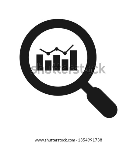 Analytics vector icon - magnifying glass with bar chart. Financial analysis and business analysis concept. Market research. Data analytics. Statistics.