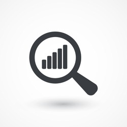 Analyze, analyse icon. Magnified Rising Bars Chart icon. Icon analyze, analyse, chart bar increase, data focus, analytics, business tool