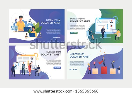 Analyzing employees set. Workers using computers, selecting candidates, standing on winners podium. Flat vector illustrations. Business, career concept for banner, website design or landing web page
