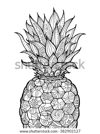 Ananas pineapple exotic fruit with floral pattern for Fruit coloring pages for adults