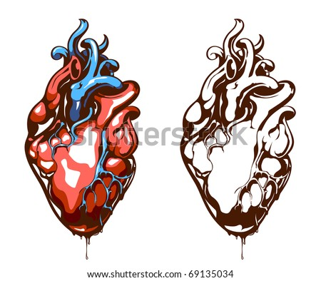 Anatomical heart isolated on white. Grunge stile. Vector EPS 10 illustration.