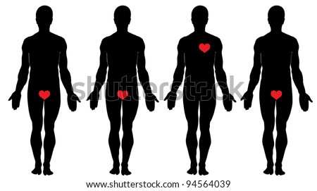 Anatomy of love. Four men's silhouettes and four hearts