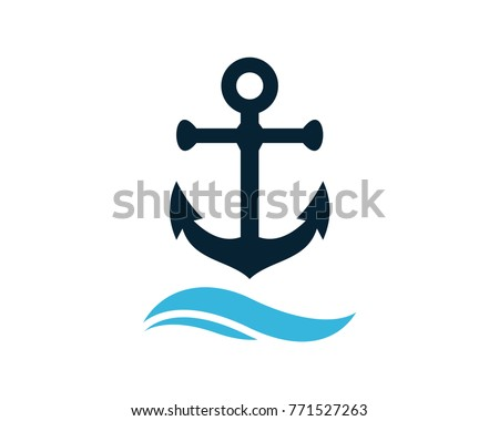 Anchor above the Wave Water Ocean Logo Symbol