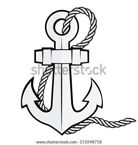 anchor and rope outline symbol vectorNavy Anchor Logo Outline