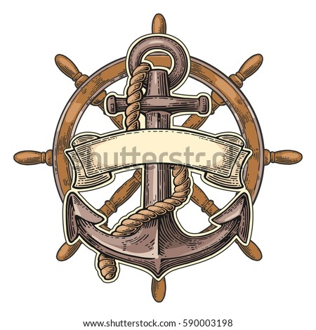 Anchor and ship wheel with ribbon isolated on white background. Vector vintage engraving illustration. Hand drawn in a graphic style.