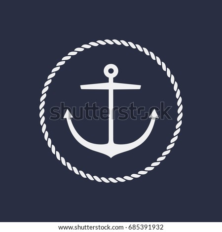 Anchor emblem with circular rope frame . Yacht style design. Nautical sign, symbol. Universal icon. Simple logotype template. Vector illustration.