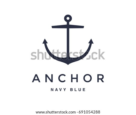 Anchor emblem. Yacht style design. Nautical sign, symbol. Universal icon. Simple logotype template. Vector illustration.