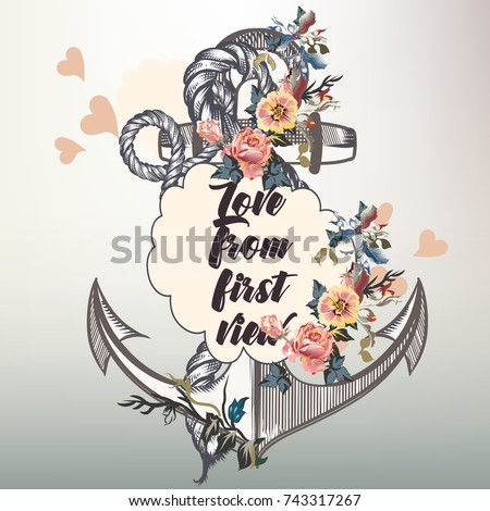 Anchor fashion vector design with nautical anchor and flowers. Love from first view