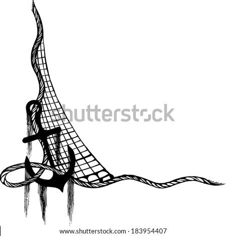 anchor fishing net anchor vectorropes and anchor