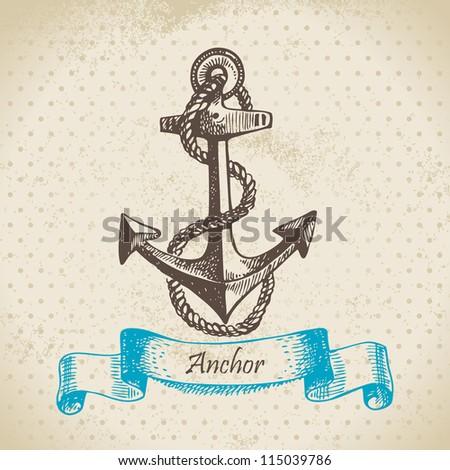 anchor. hand drawn...