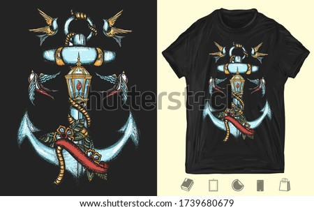 Anchor, roses flowers, ribbon and swallows birds. Creative print for dark clothes. T-shirt design. Template for posters, textiles, apparels. Sea adventure, old school tattoo style