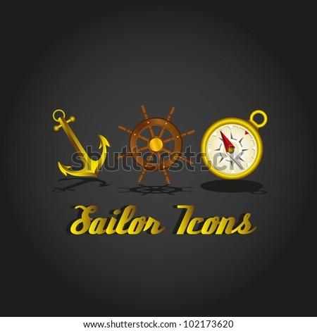 anchor, ship rudder, compass sailor icons, vector illustration