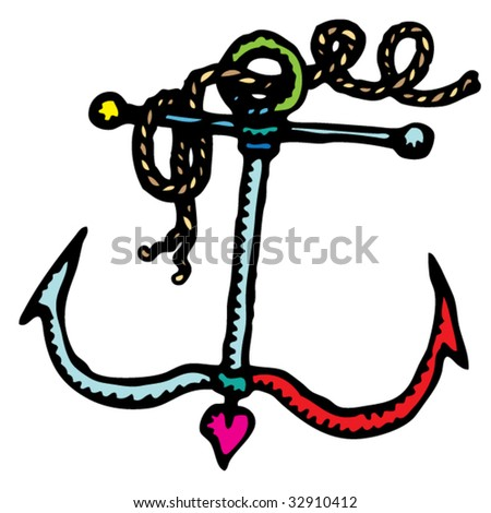 Small Anchor Drawing Anchor Small Rustic Drawing