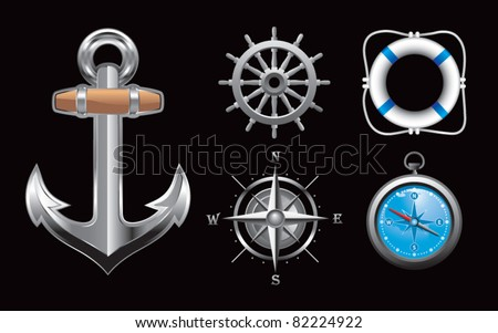 Anchor, steering wheel, compasses, and life ring on black background