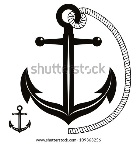 Anchor symbol, monochrome vector icon.
