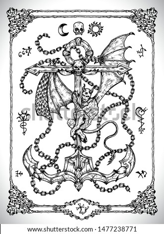 Anchor symbol with demon. Vector line art engraved illustration in gothic style. No foreign language, all symbols are fantasy. Occult, esoteric, Halloween and mystic concept