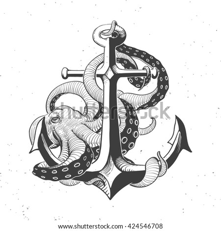 anchor with octopus on white