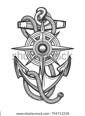 Anchor with ropes and Nautical vintage compass drawn in engraving style. Vector illustration.