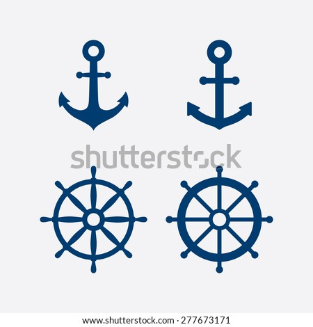 Anchors and steering wheel / ship wheel icons set - Nautical symbols. Vector illustration