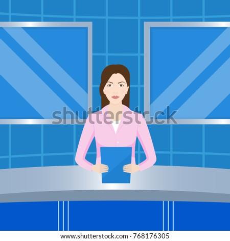 anchorwoman in news studio