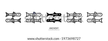 ANCHOVY set vector type icon Stok fotoğraf ©