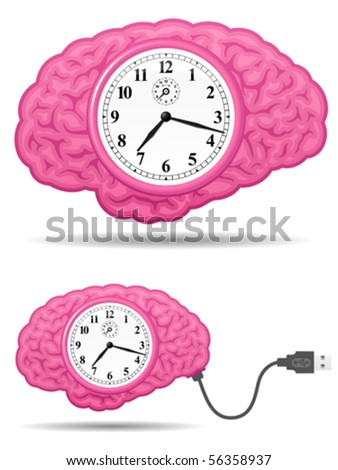 Ancient analog brain clock with usb cable - vector