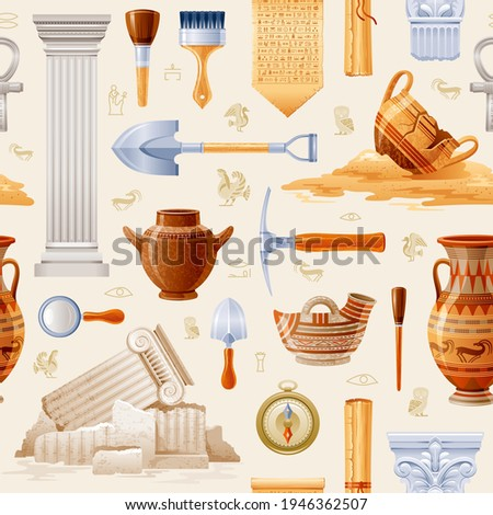 Ancient Archeology pattern. Archaeology and history seamless background. Vector greek Egyptian art. Tools - dig, brush, magnifier, compass. Pottery and artifact - cup, jar, column, papyrus scroll set Foto d'archivio ©