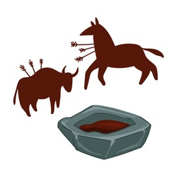 Ancient art, cave painting of prehistoric times and ages. Isolated buffalo or animals with arrows, scenes of hunting. Primitive depiction of everyday life of cavemen people. Vector in flat style