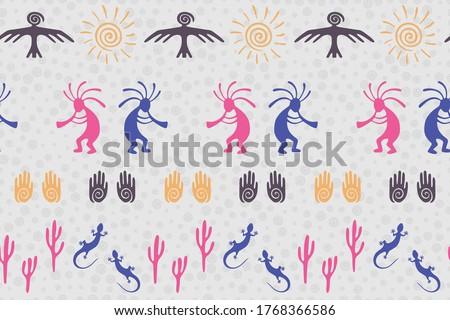 Ancient aztec or mayan american vector ethnic tribal motifs seamless pattern. Aborigine design with lizard, Kokopelli fertility deity, sun, eagle, cacti. American indian healing deity pattern.