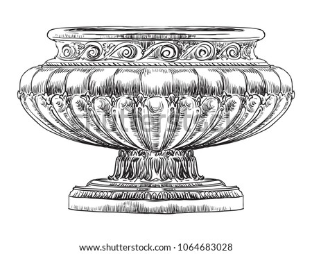 Ancient carving street vase vector hand drawing illustration in black color isolated on white background Foto d'archivio ©